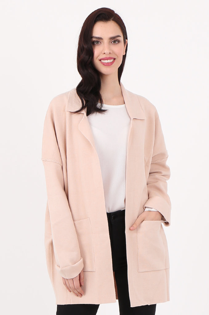 SJ2533-BEIGE WATERFALL COLLAR FRONT POCKET COATIGAN