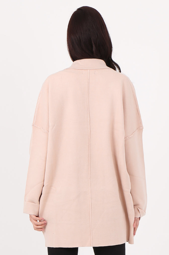 SJ2533-BEIGE WATERFALL COLLAR FRONT POCKET COATIGAN view 3