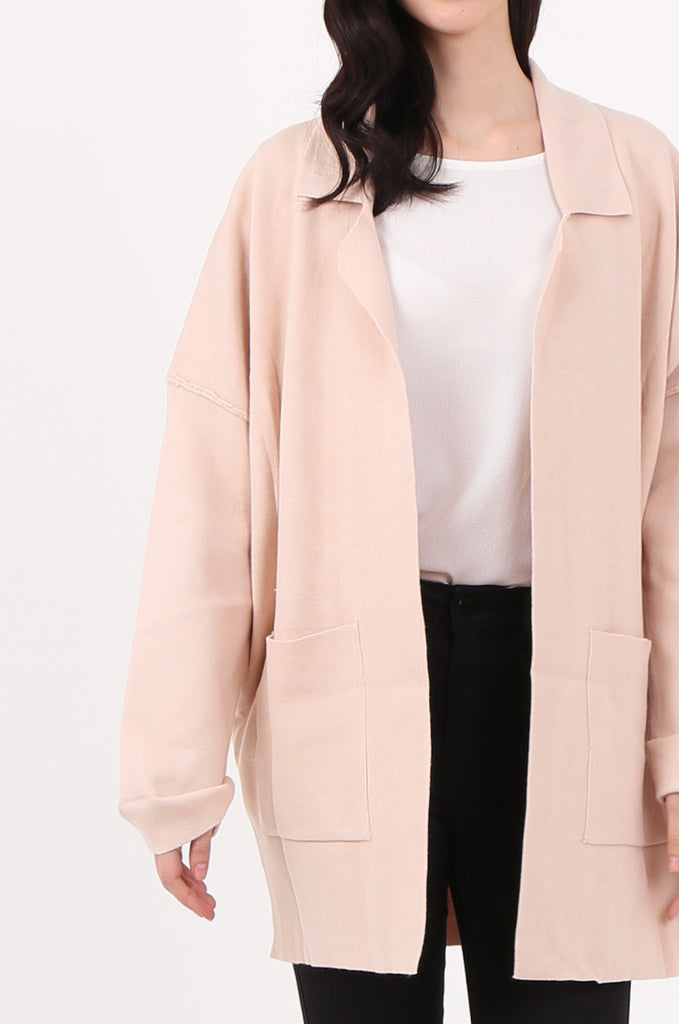 SJ2533-BEIGE WATERFALL COLLAR FRONT POCKET COATIGAN view 5