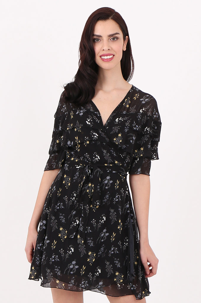 SJ2540-BLACK FLORAL PRINT FRILL TOP WRAP DRESS view 2