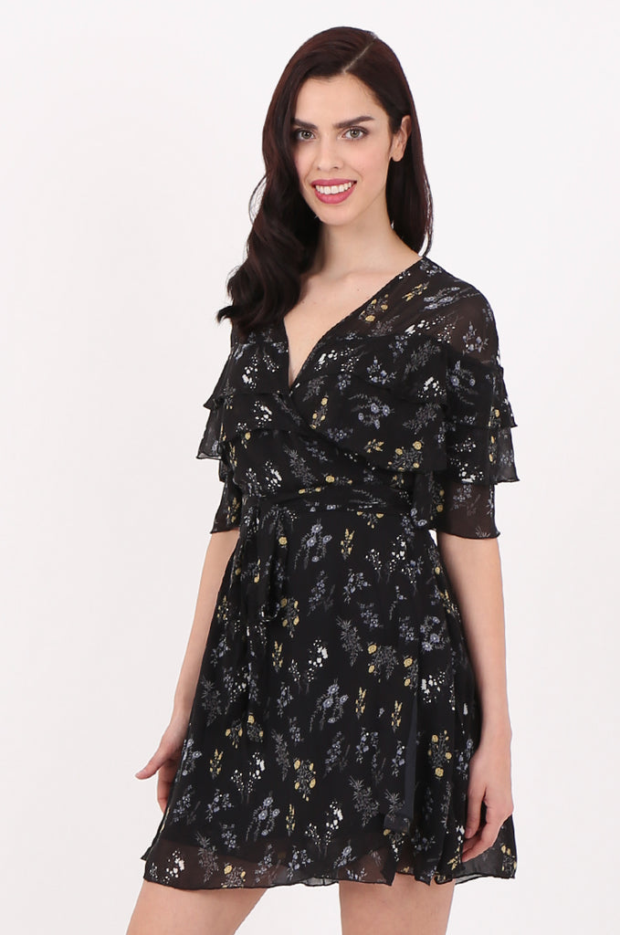 SJ2540-BLACK FLORAL PRINT FRILL TOP WRAP DRESS view 3