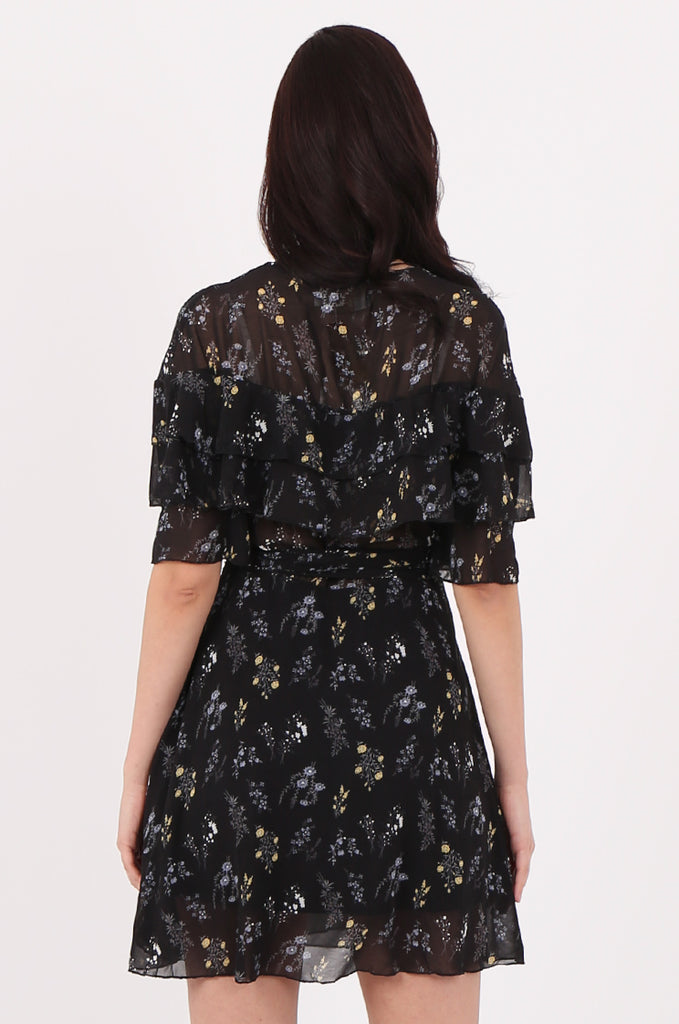 SJ2540-BLACK FLORAL PRINT FRILL TOP WRAP DRESS view 4
