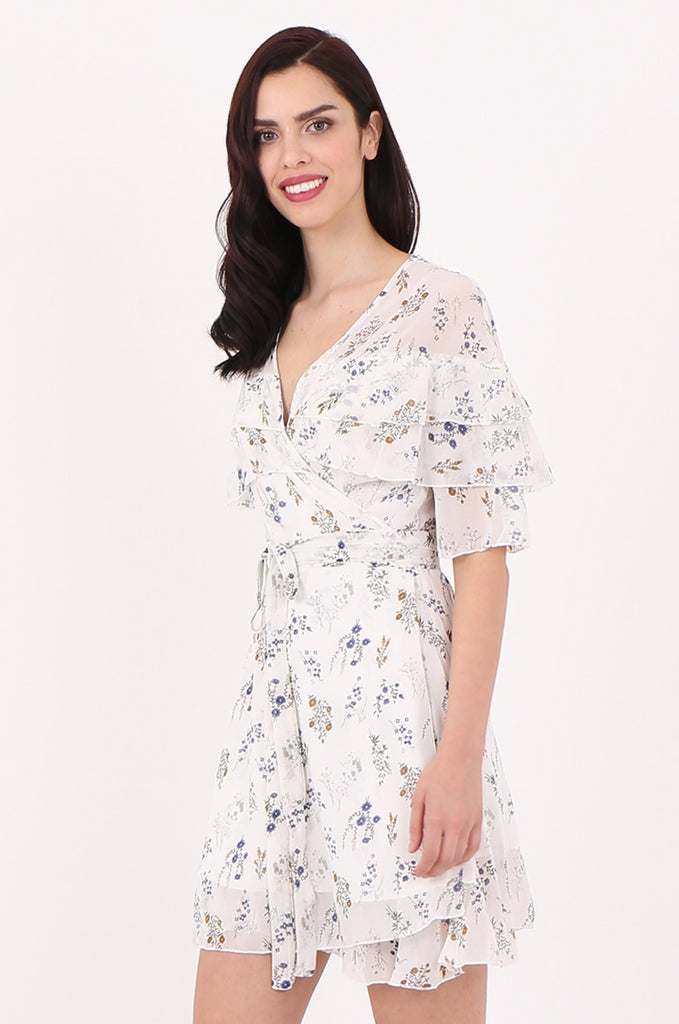 SJ2540-CREAM FLORAL PRINT FRILL TOP WRAP DRESS view 3