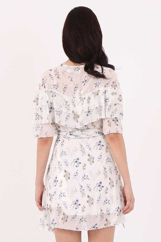 SJ2540-CREAM FLORAL PRINT FRILL TOP WRAP DRESS view 4