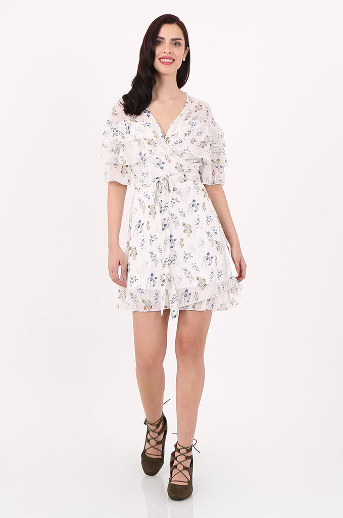 SJ2540-CREAM FLORAL PRINT FRILL TOP WRAP DRESS