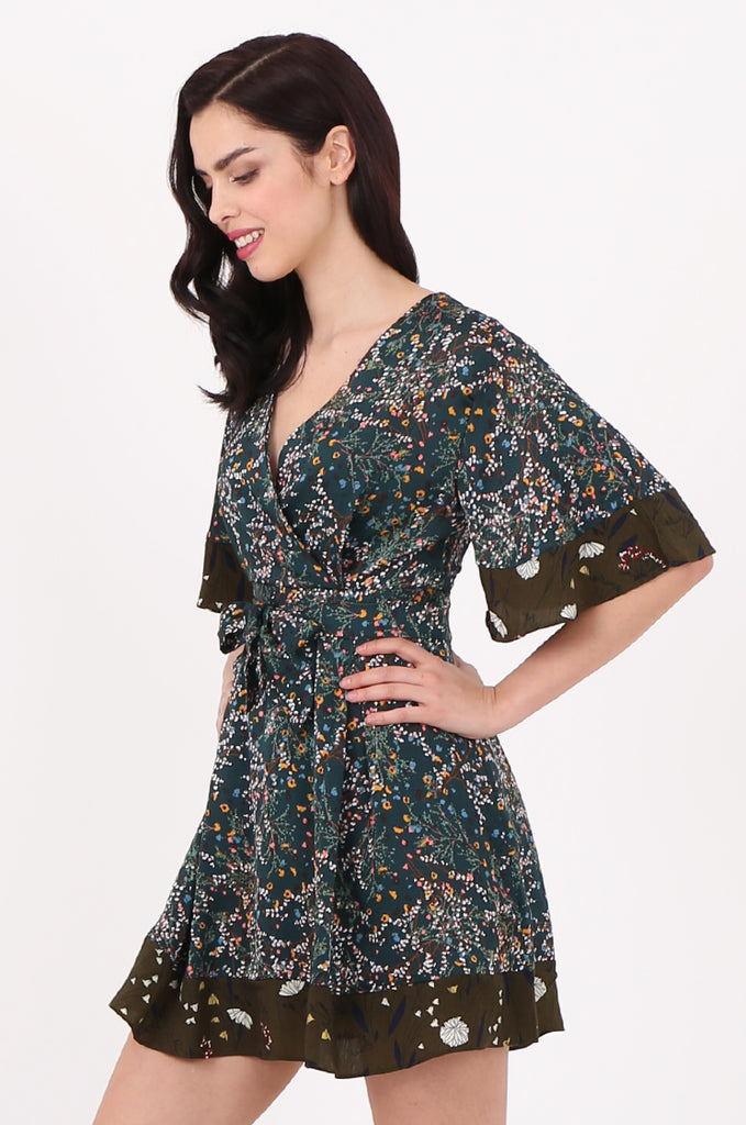 SJ2543-GREEN FLORAL TIE BACK DRESS LOOK PLAYSUIT view 3