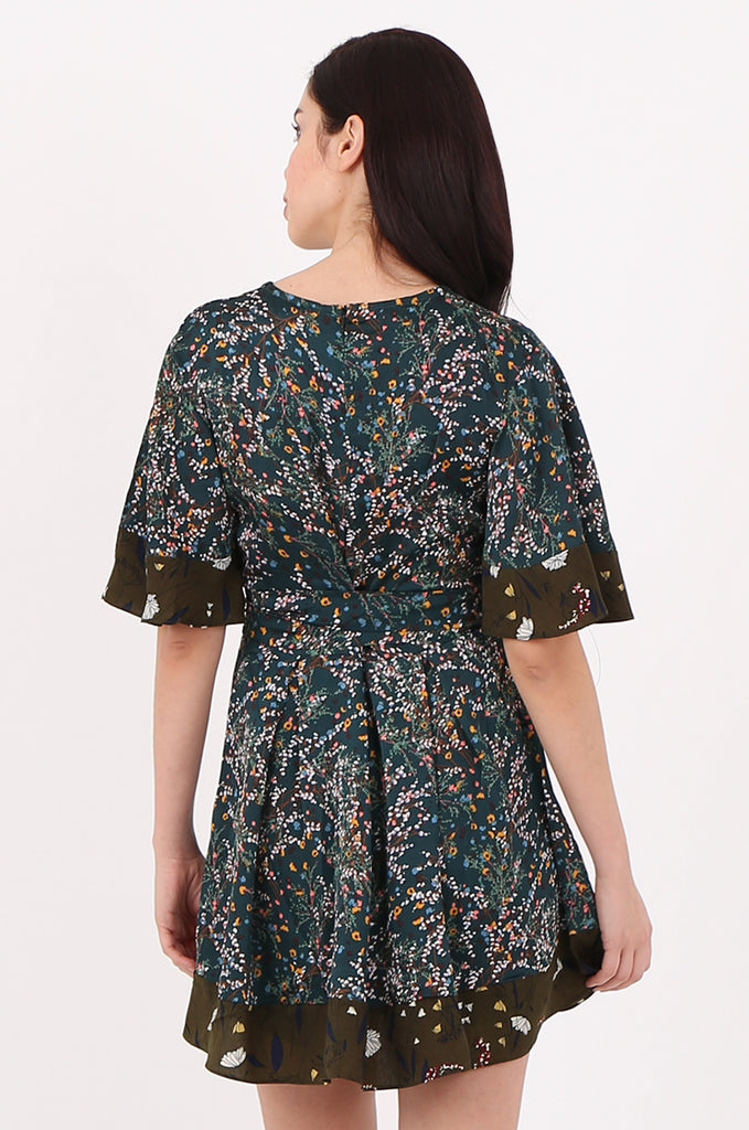 SJ2543-GREEN FLORAL TIE BACK DRESS LOOK PLAYSUIT view 4