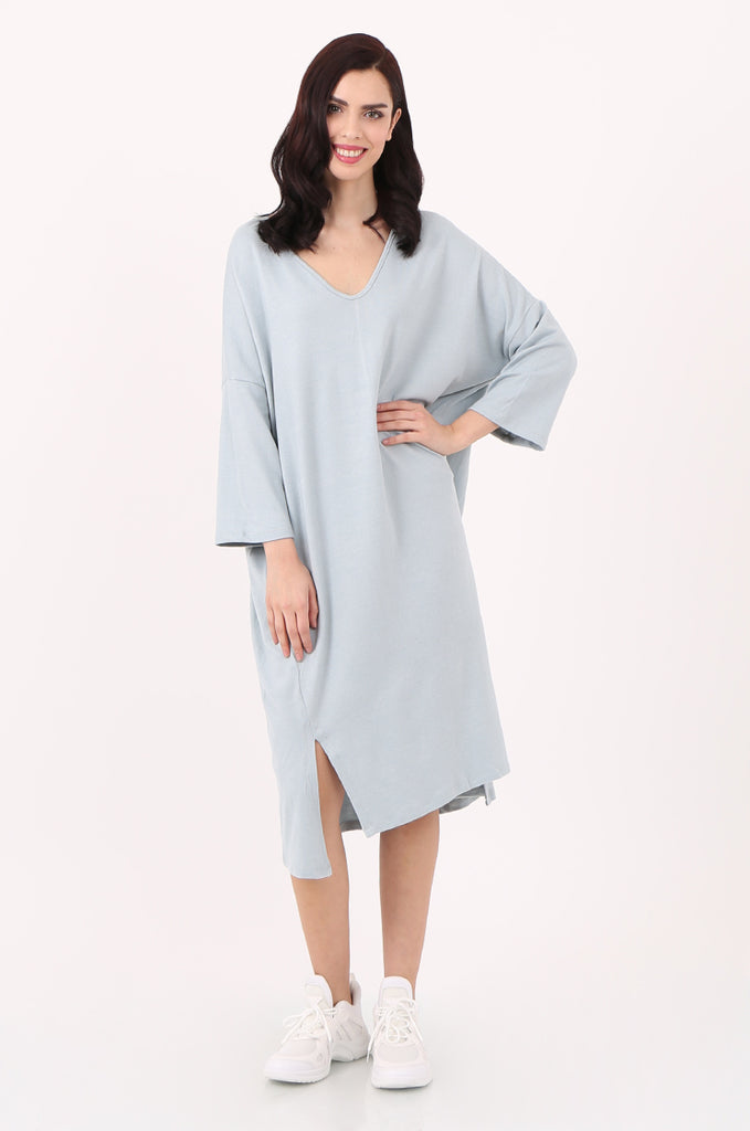 SJ2544-BLUE V-NECK RELAXED FIT KNIT DRESS