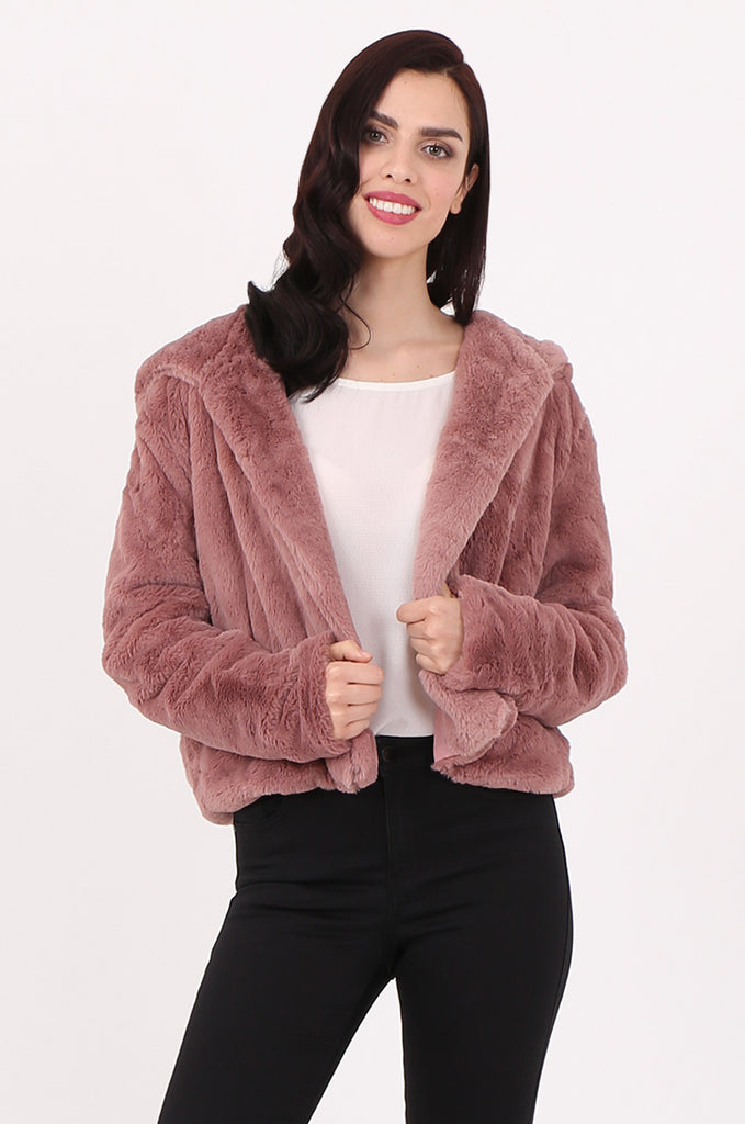 SJ2545-PINK HOODED FAUX FUR CROPPED JACKET view main view