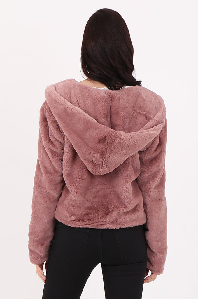 SJ2545-PINK HOODED FAUX FUR CROPPED JACKET view 3