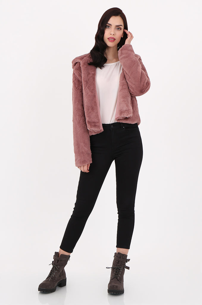 SJ2545-PINK HOODED FAUX FUR CROPPED JACKET view 4