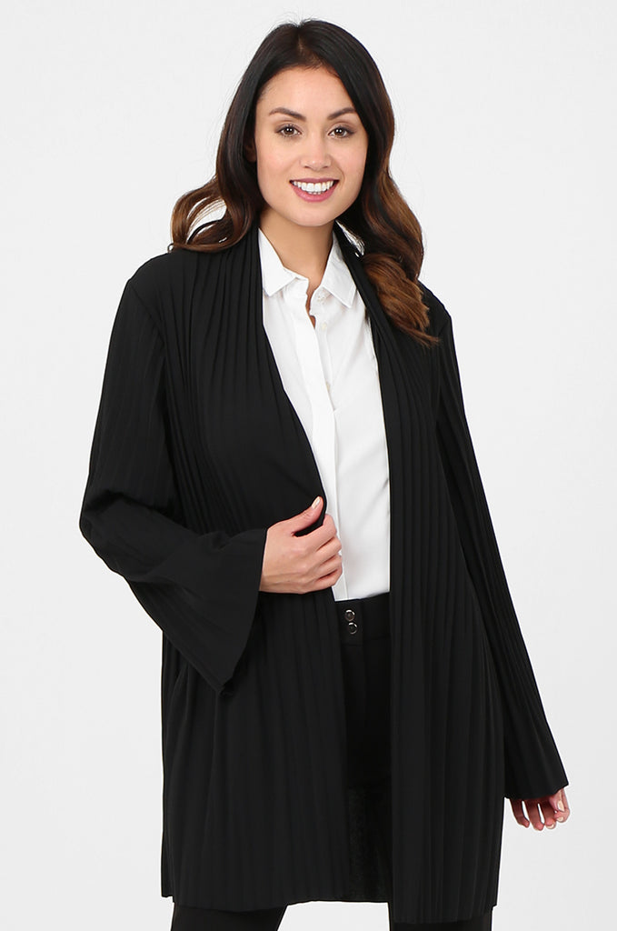 SJF2794-BLACK ELECTRO PLEATED OPEN FRONT LIGHT WEIGHT JACKET