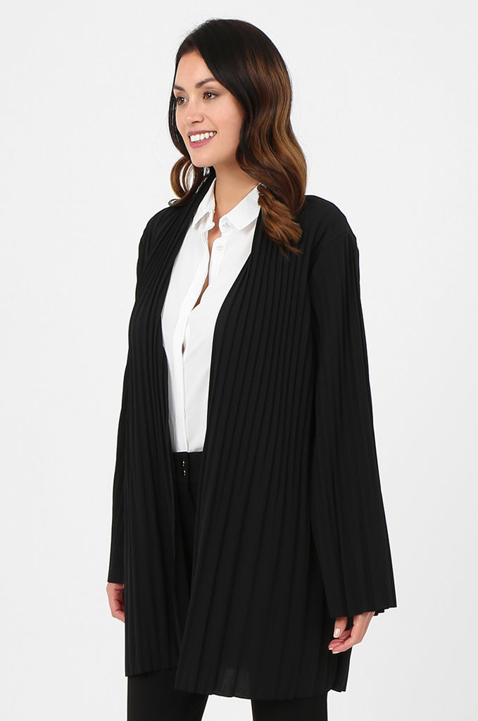 SJF2794-BLACK ELECTRO PLEATED OPEN FRONT LIGHT WEIGHT JACKET view 2