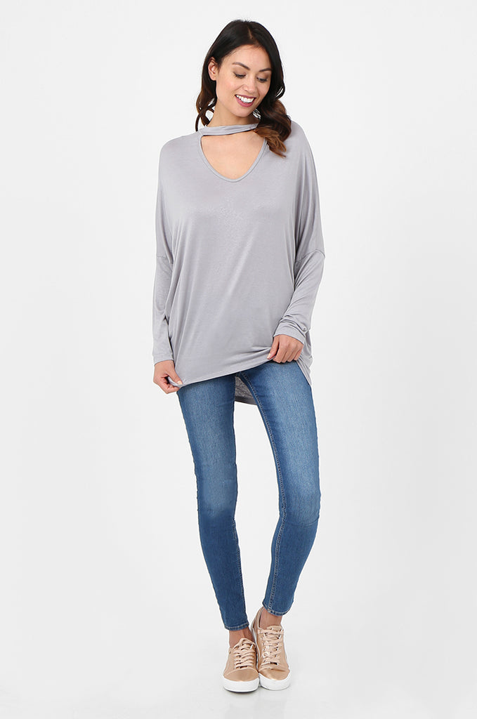 SJF2796-GREY BATWING KEYHOLE CUTOUT KNIT TOP view 4