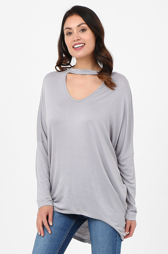 SJF2796-GREY BATWING KEYHOLE CUTOUT KNIT TOP view 2