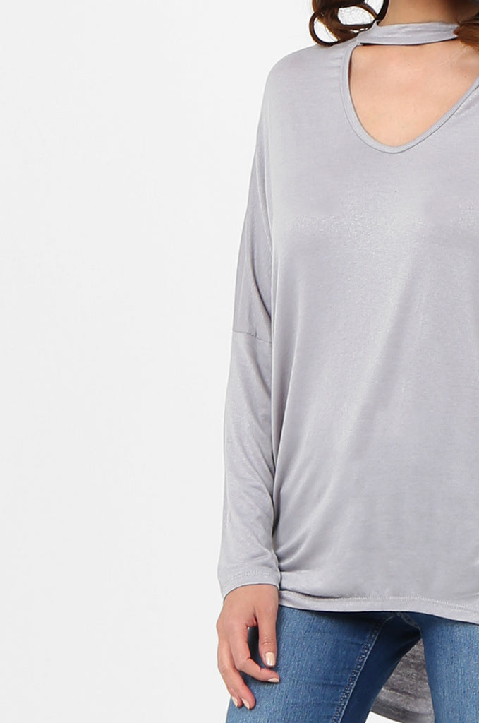 SJF2796-GREY BATWING KEYHOLE CUTOUT KNIT TOP view 5