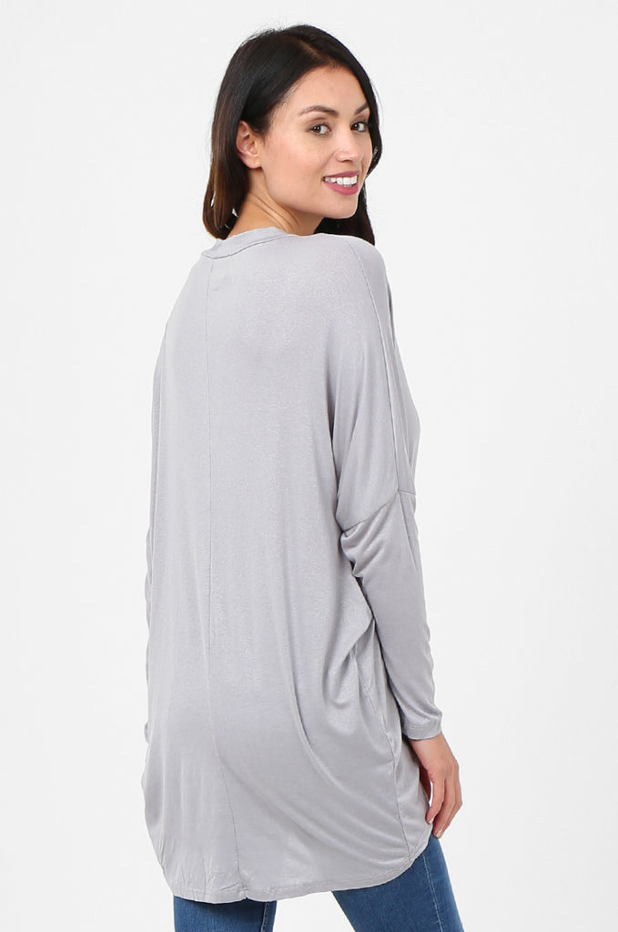 SJF2796-GREY BATWING KEYHOLE CUTOUT KNIT TOP view 3