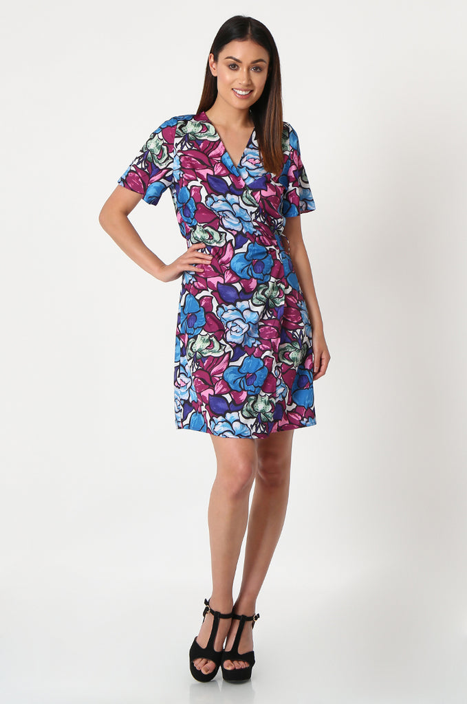 SJF2864-BLUE FLORAL PRINT WRAP DRESS