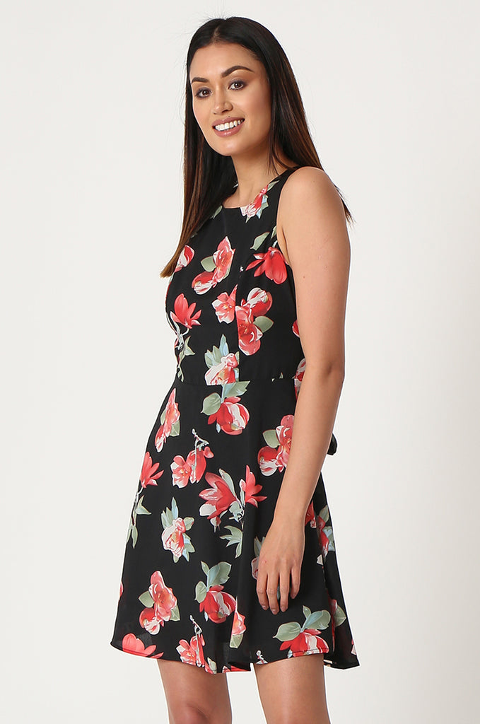 SJF2865-BLACK FLORAL PRINT CHIFFON DRESS view 3