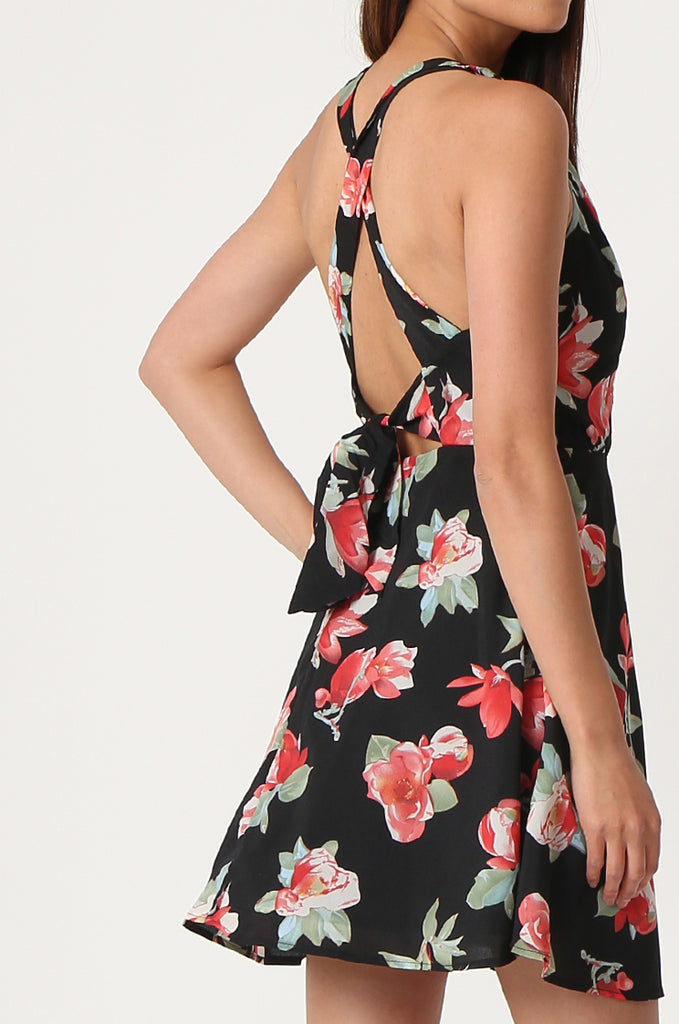 SJF2865-BLACK FLORAL PRINT CHIFFON DRESS view 5