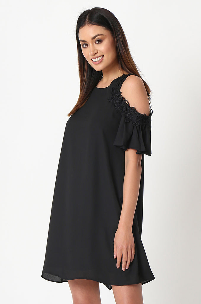 SJF2867-BLACK FRILL SLEEVE COLD SHOULDER DRESS view 3