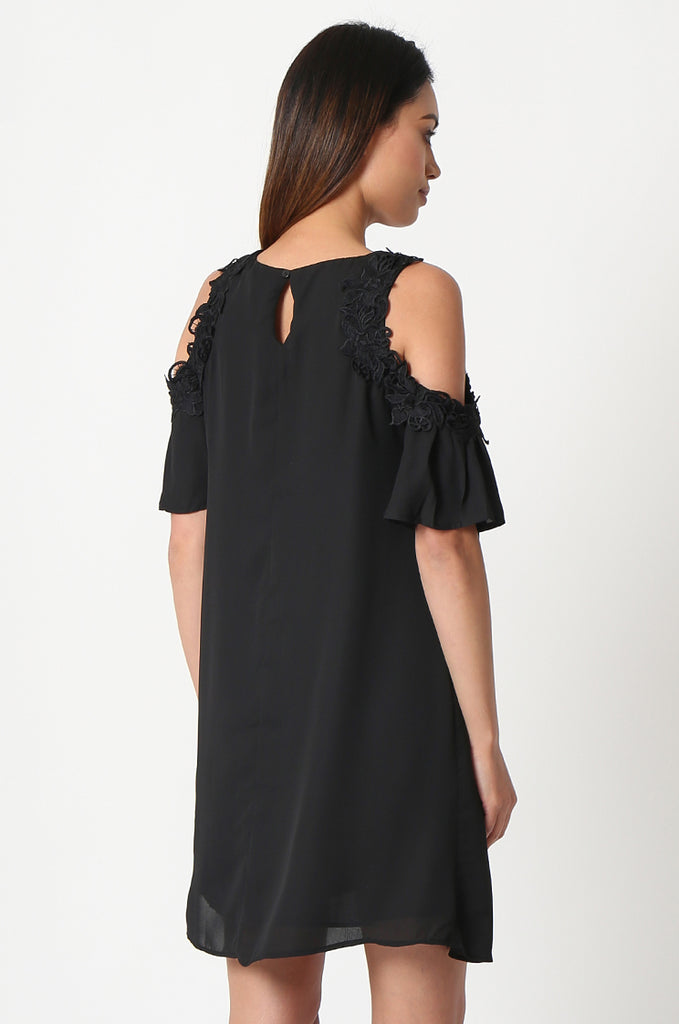 SJF2867-BLACK FRILL SLEEVE COLD SHOULDER DRESS view 4
