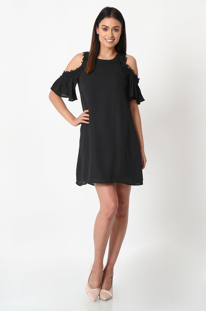 SJF2867-BLACK FRILL SLEEVE COLD SHOULDER DRESS
