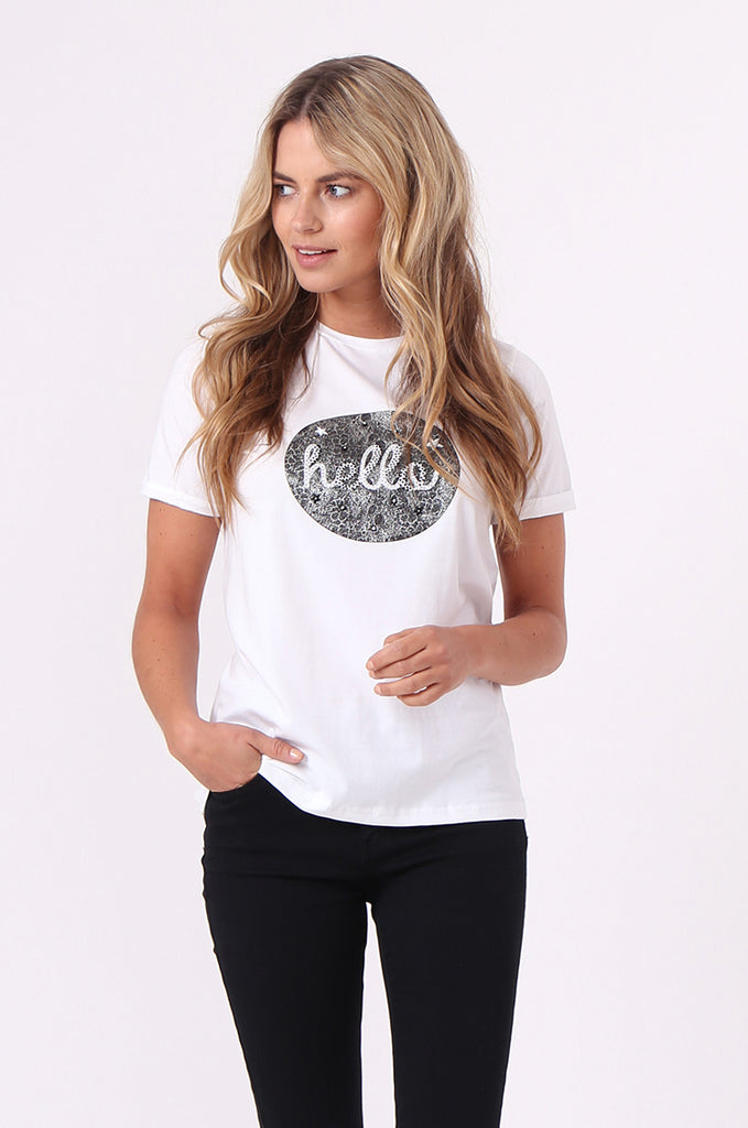 SJM0524-BLACK HELLO PRINTED TEE