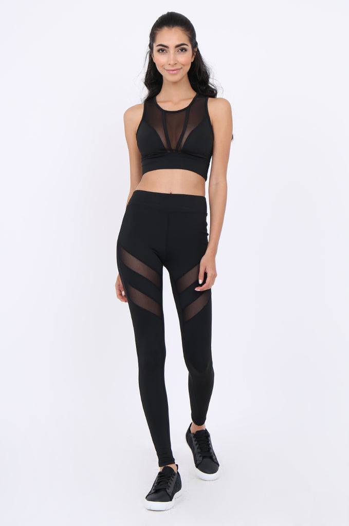 SJM1902-BLACK MESH INSERT ANKLE LENGTH ACTIVE LEGGINGS