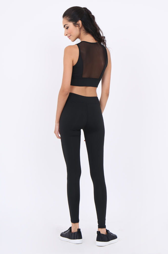 SJM1902-BLACK MESH INSERT ANKLE LENGTH ACTIVE LEGGINGS view 3