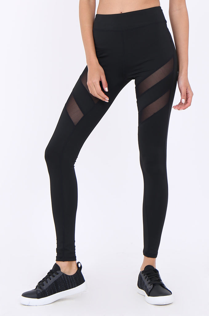 SJM1902-BLACK MESH INSERT ANKLE LENGTH ACTIVE LEGGINGS view 4