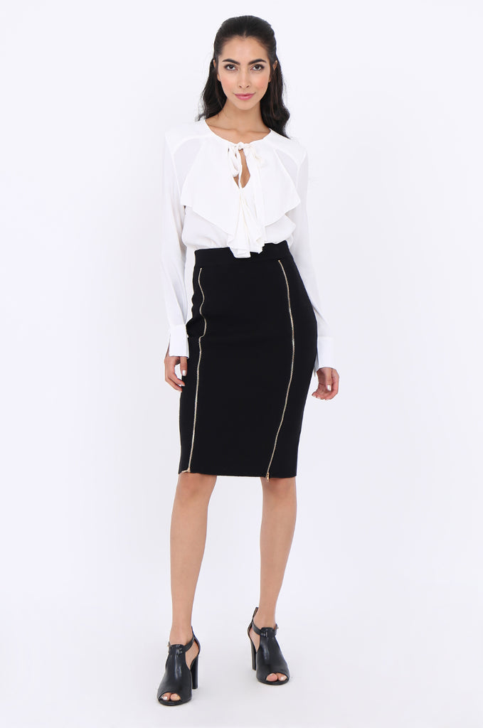 SJM1904-BLACK DOUBLE ZIP FRONT RIB KNIT PENCIL SKIRT view main view