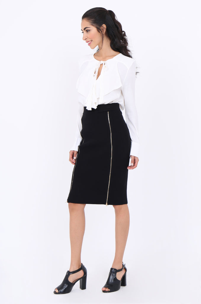 SJM1904-BLACK DOUBLE ZIP FRONT RIB KNIT PENCIL SKIRT view 2