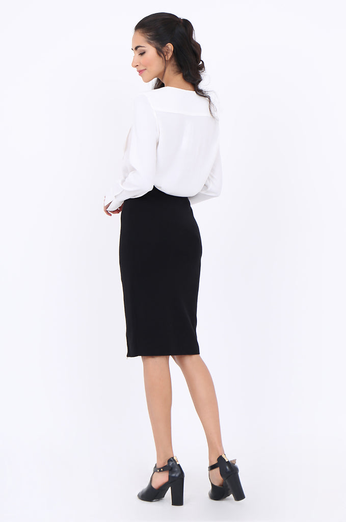 SJM1904-BLACK DOUBLE ZIP FRONT RIB KNIT PENCIL SKIRT view 3