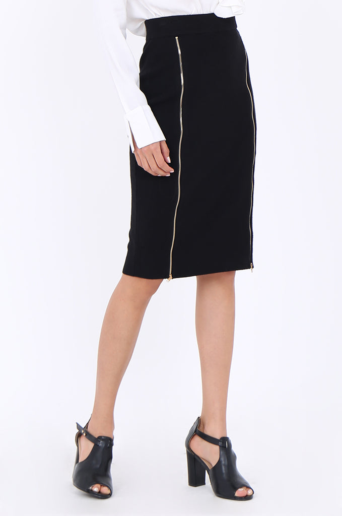SJM1904-BLACK DOUBLE ZIP FRONT RIB KNIT PENCIL SKIRT view 4
