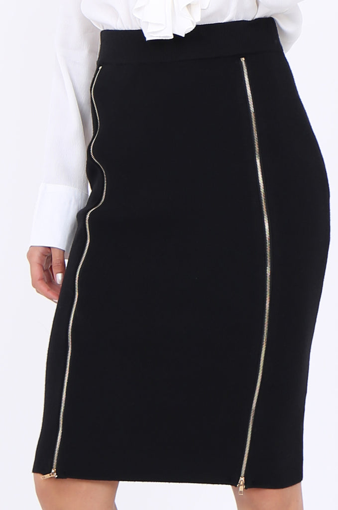 SJM1904-BLACK DOUBLE ZIP FRONT RIB KNIT PENCIL SKIRT view 5