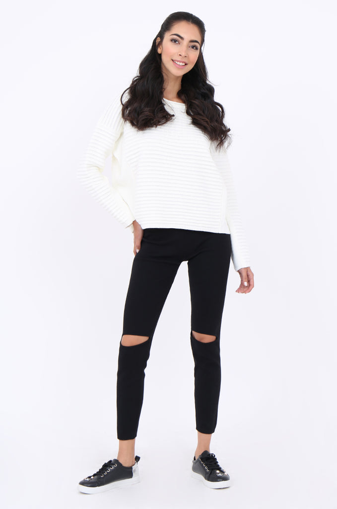 SJM1906-BLACK RIB KNIT SLIT KNEE LEGGINGS
