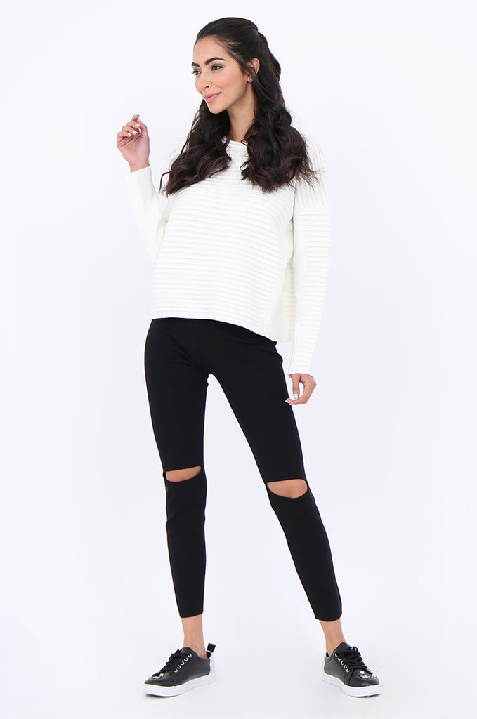 SJM1906-BLACK RIB KNIT SLIT KNEE LEGGINGS view 2