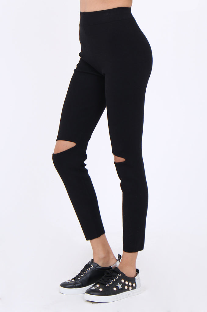 SJM1906-BLACK RIB KNIT SLIT KNEE LEGGINGS view 4