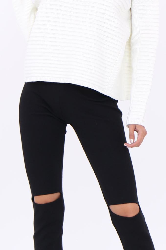 SJM1906-BLACK RIB KNIT SLIT KNEE LEGGINGS view 5