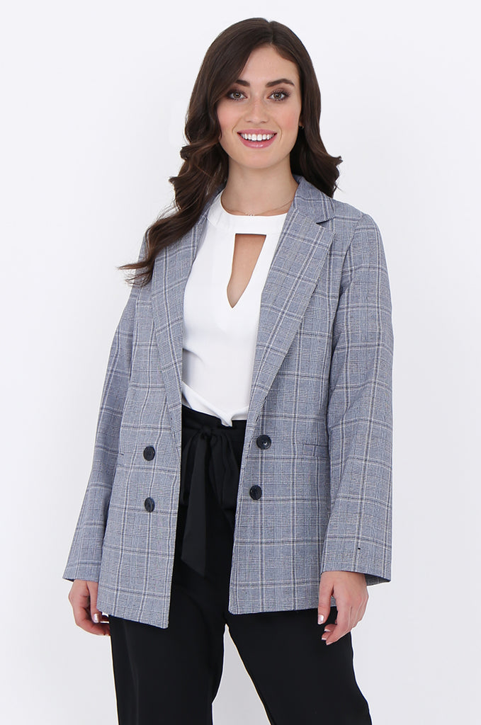 SJO1919-NAVY CHECK LIGHT WEIGHT BUTTON DETAIL BLAZER