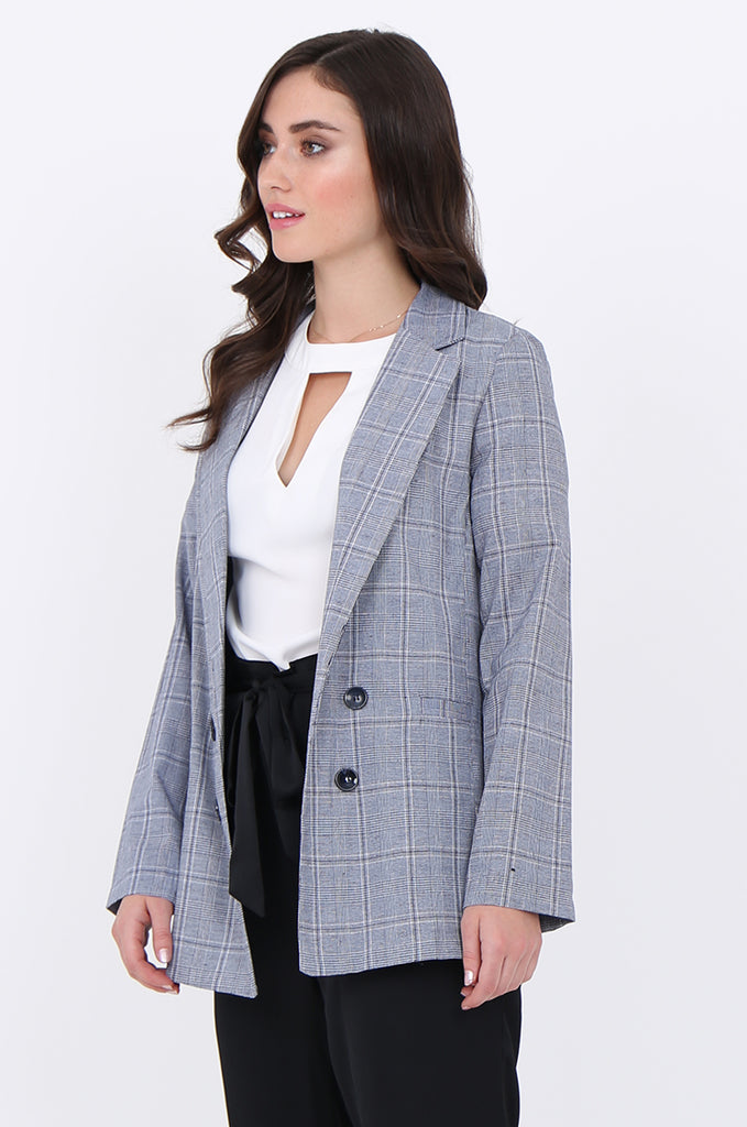 SJO1919-NAVY CHECK LIGHT WEIGHT BUTTON DETAIL BLAZER view 2
