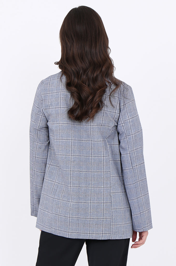 SJO1919-NAVY CHECK LIGHT WEIGHT BUTTON DETAIL BLAZER view 3