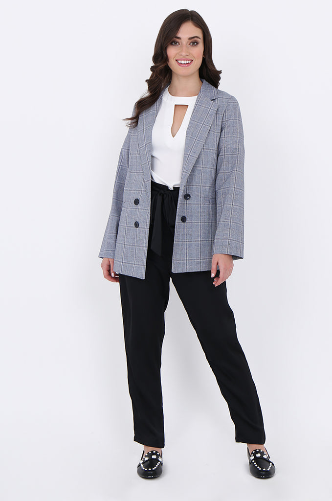 SJO1919-NAVY CHECK LIGHT WEIGHT BUTTON DETAIL BLAZER view 4