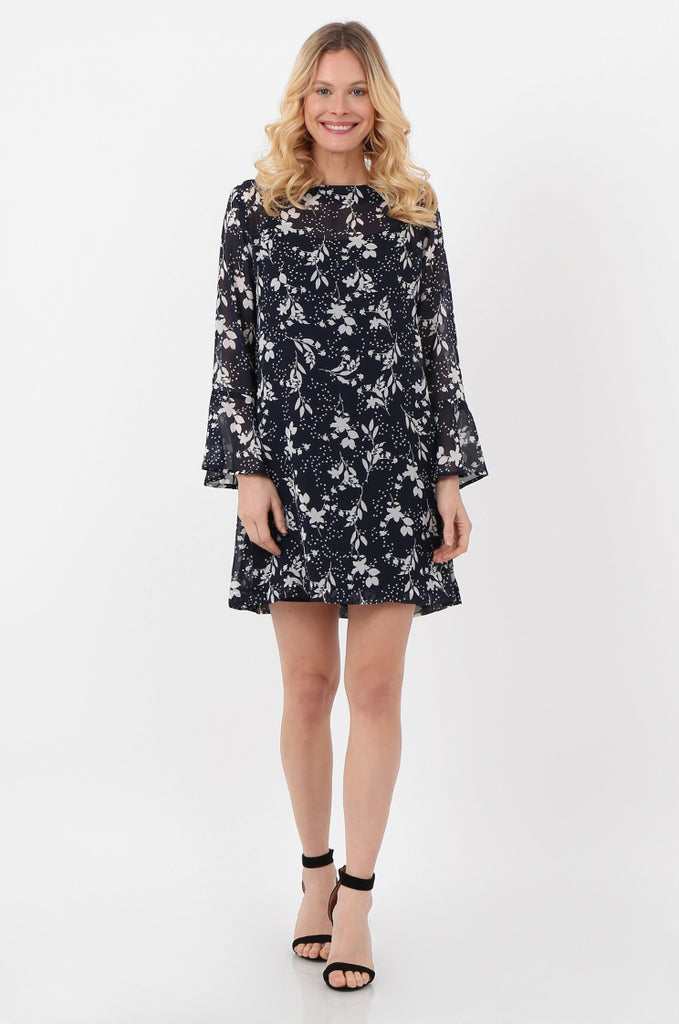 SJO2418-NAVY LONG SLEEVE FLORAL PRINT DRESS view main view