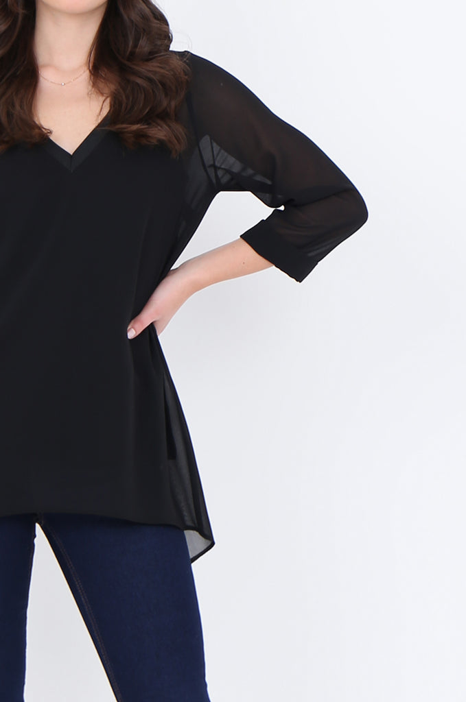 SLA1934-BLACK V-NECK LAYERED 3/4 SLEEVE SLIT BACK BLOUSE view 5