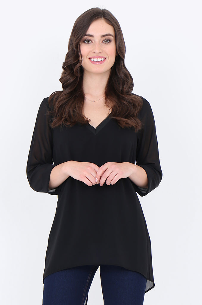 SLA1934-BLACK V-NECK LAYERED 3/4 SLEEVE SLIT BACK BLOUSE