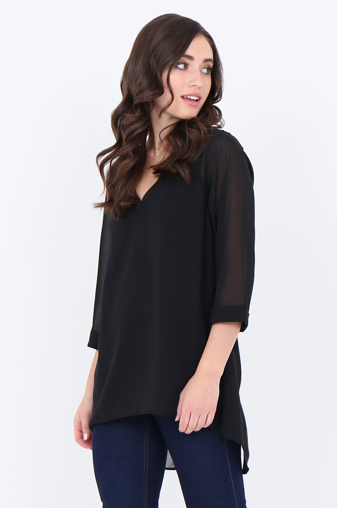 SLA1934-BLACK V-NECK LAYERED 3/4 SLEEVE SLIT BACK BLOUSE view 2