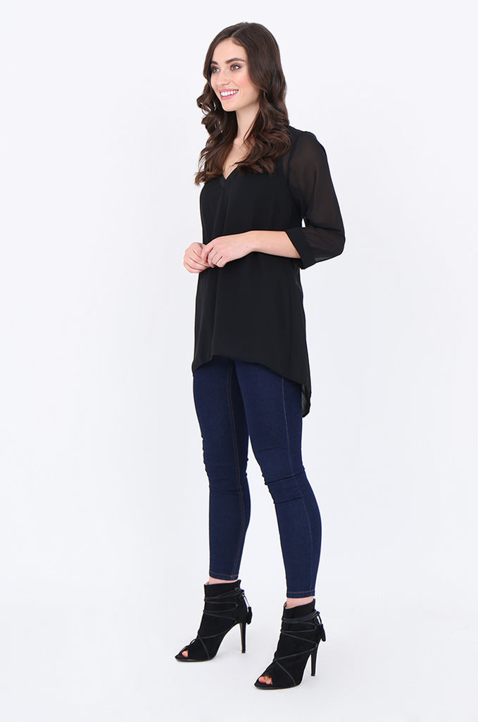 SLA1934-BLACK V-NECK LAYERED 3/4 SLEEVE SLIT BACK BLOUSE view 4