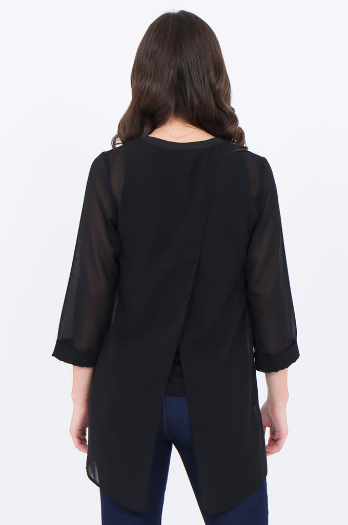 SLA1934-BLACK V-NECK LAYERED 3/4 SLEEVE SLIT BACK BLOUSE view 3